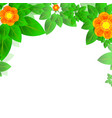 summer or spring leaves with flowers banner vector image
