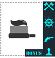 toothbrush with toothpaste icon flat vector image