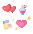 Valentine s day stylish icons set Cartoon style vector image vector image