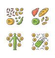 vitamins color icons set b1 b9 natural food vector image vector image