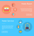 hotel room and service set of advertising banners vector image