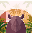 Rhino on the Jungle Background vector image