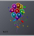 3d realistic colorful balloons on transparent vector image vector image