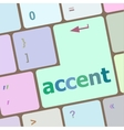 accent on computer keyboard key enter button vector image vector image