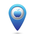 Apple icon on blue map pointer vector image