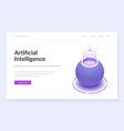 artificial intelligence web page template vector image vector image