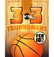 basketball tournament flyer vector image vector image