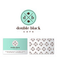 black coffee cafe two cups business card vector image vector image