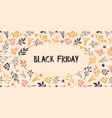 black friday sale text hand drawn leaves vector image