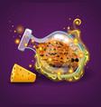bottle of halloween pumpkin with magic smoke vector image