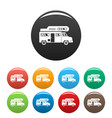 camping truck icons set color vector image