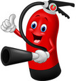 cartoon character of fire extinguisher giving thum vector image vector image
