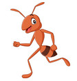 cartoon happy ant running isolated vector image vector image