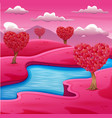 cartoon pink field landscape with a river vector image vector image
