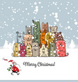 christmas card with happy dogs family vector image vector image