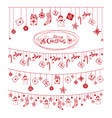 christmas card with red festive garlands vector image