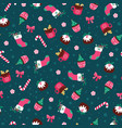 christmas seamless pattern with dessert vector image