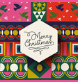 christmas vintage folk holiday background card vector image