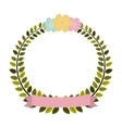 colorful arch of leaves with pastel flowers and vector image vector image