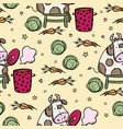 cow is cooking borsch seamless pattern vector image vector image