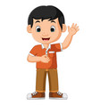 cute boy waving cartoon vector image vector image