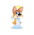 cute corgi in white angel costume with wings and vector image vector image