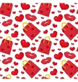 Cute pattern Valentines day with gift bag vector image