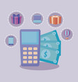 dataphone with bills dollar and set icons vector image vector image