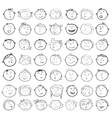 Different children faces cartoon vector image