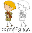 doodle camping kid character vector image vector image