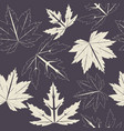 endless pattern with maple leaves on purple vector image vector image