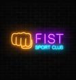 glowing neon fighting sport club sign on dark vector image vector image
