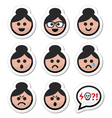 Grandma face woman with bun hair icons set vector image vector image