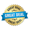 great deal 3d gold badge with blue ribbon vector image vector image