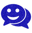 happy chat icon grunge watermark vector image