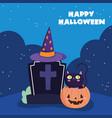 happy halloween tombstone cat in pumpkin hat vector image vector image