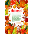 hello autumn poster with fall season leaf frame vector image vector image