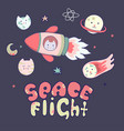 japanese kawaii cat travels in space and set of vector image vector image