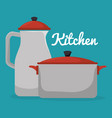 kitchen pot and teapot utensil icon vector image vector image