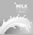 milk splash dairy food calcium drink vector image vector image