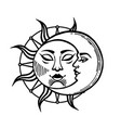 moon and sun tattoo with face stylized vector image