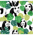 panda seamless pattern in sketch style hand vector image