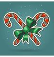 Paper Cut Candy Canes Emblem vector image