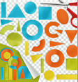 pieces paper geometric shapes flat design vector image