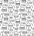 Seamless monochrome pattern burgers and fries vector image vector image