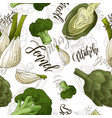 seamless pattern with vegetables fennel vector image vector image