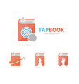 set of book logo combination novel and cursor vector image
