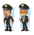 Set of cartoon cops in black uniform vector image vector image