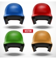 Set of multicolor Baseball helmets front view vector image vector image