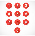 set of red number icons vector image